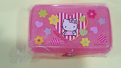 Vintage Sanrio 76 93 NEW Hello Kitty Glitter Pink Jewelry Case with Lock