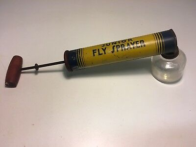 Vintage All-Nu Junior Fly Sprayer Hand Pump Insect Exterminator Metal Glass Wood