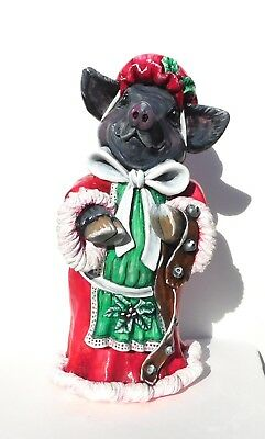 Christmas Pig, Bonnet and Apron, Hand-painted, Pot Belly Pig Figurine,