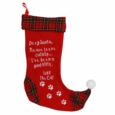 "Festive Red Holiday Stocking for your precious Cat / 18"" L x 13"" W"