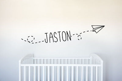 Custom Name Flying Paper Plane - Vinyl Decal Wall Art Decor