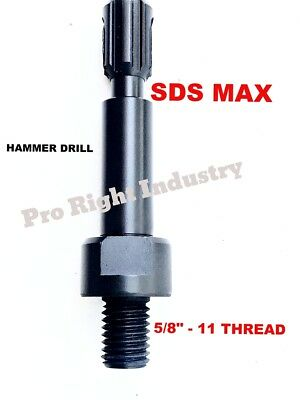 "Core Bit Adapter: 5/8""-11 Threaded Male to SDS-Max Shank for Hammer Drill"