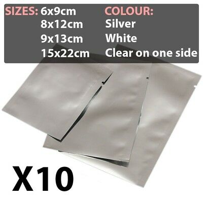 10X Aluminium foil mylar bags for food storage, vacuum sealing, heat sealing