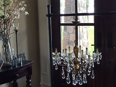 Vintage 12-Arm Spanish Crystal/Brass Chandelier