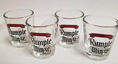 Imported Rumple Minze Clear Red Black Logo Shot Glasses