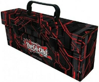 Yugioh Card Storage Carrying Case Triple Deck Box Lunchbox Black & Red Zexal Art