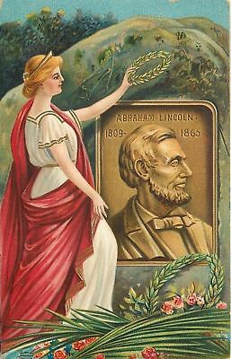 Patriotic~Chapman~Lady Liberty Holds Wreath Over Plaque Of Abraham Lincoln~Emb