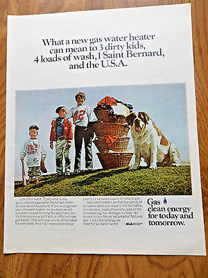 1972 American Gas Ad  Children St. Saint Bernard Dog