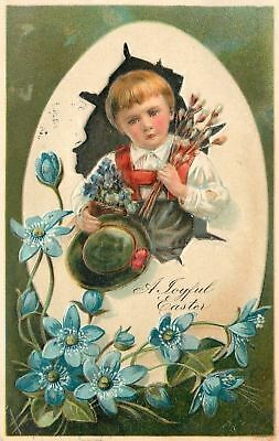 PFB Easter~Boy In Exaggerated Egg~Hat~Pussy Willows~Blue Flowers~Emboss~Ser 6727