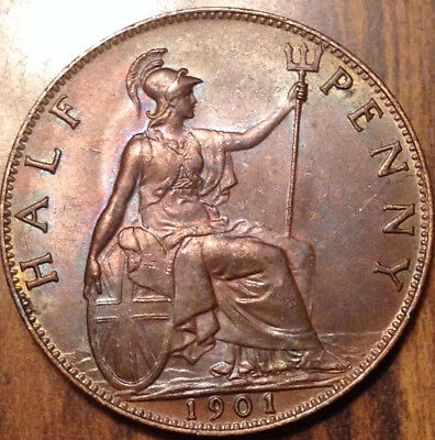 1901 Uk Gb Great Britain Halfpenny Near Uncirculated