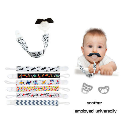 Toddler Boy Dummy Pacifier Soother Nipple Shield Chain Infant Baby Clip Holder