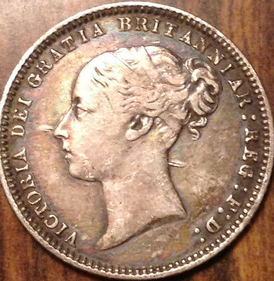 1874 Uk Gb Great Britain Silver Sixpence Toned Beautiful Example!
