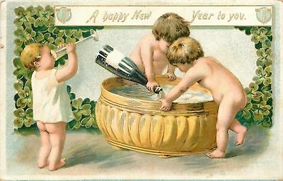 Naked New Year Babies Pour the Bubbly~Champagne Bath~Goblets~Embossed~TUCK 1907