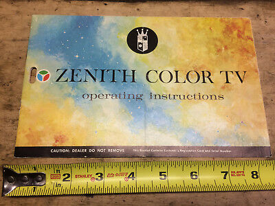 retro vintage 1970's ZENITH color tv operating instructions booklet