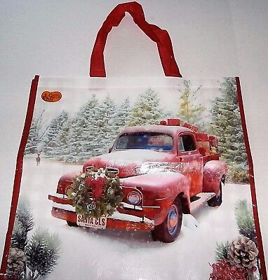 "CHRISTMAS Reusable Tote Bag  18"" x 17"" x 7"" OLD RED TRUCK FILLED WITH GIFTS"
