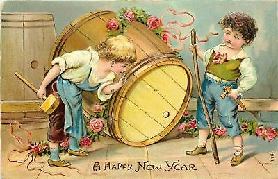 New Year~Victorian Boys Struggle to Put Spout in Beer Keg~Barrel~Emboss~1908 PC