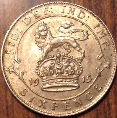 1915 Uk Gb Great Britain Silver Sixpence Golden Toning Near Uncirculated