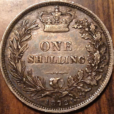 1872 Uk Gb Great Britain Silver Shilling Toned Excellent Example