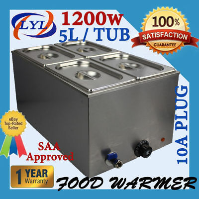 Bain Marie with Tap & Pans 4 Tubs Stainless Steel Bain Marie Food  Warmer