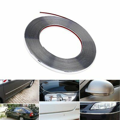15M x 8mm Chrome Silver Car Moulding Trim Strip For Interior Grille Window Door