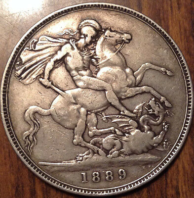 1889 Uk Gb Great Britain Silver Crown Good Example !!