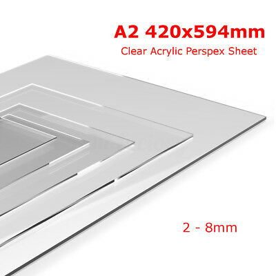 A2 Clear Acrylic Perspex Sheet Custom Cut To Size Panels Plastic Panel 2 - 8mm