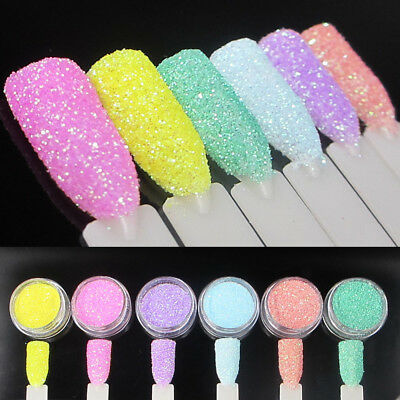 6X Nail Art Fine Glitter Powder Dust UV Gel Polish Acrylic Nail Tips Tools DIY