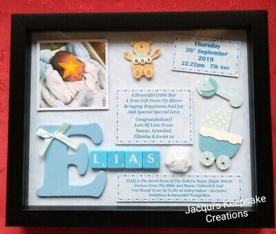 New Baby Boy Frame Picture Gift Personalised Keepsake Photo Included Scrabble