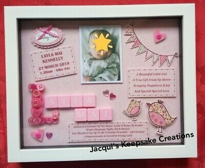 NEW BABY GIRL Gift PERSONALISED Frame Picture Keepsake