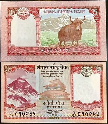 Nepal 5 Rupees 2017 P New Date Sign Picture Unc