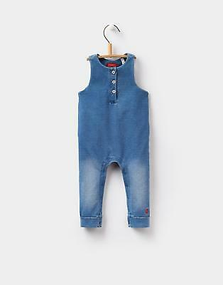 Joules Girls Frankie Jersey Denim Dungarees with Buttons and Poppers in Denim