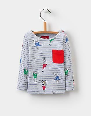 Joules Boys Rufus Printed Jersey Top Shirt in 100% Cotton in Grey Bear Stripe