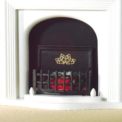 1:12 Dolls House Lit Fire Basket with Curved Front
