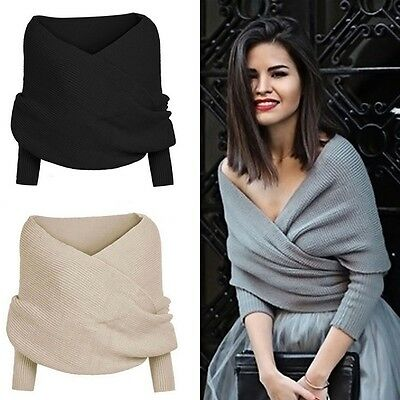 Sexy Women Off Shoulder V Neck Long Sleeve Loose Knitted Sweater Jumper Tops New