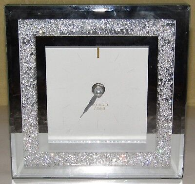 American Atelier Clock,Works Great,Bevelled Glass Mirror, Crystal Look, Chipped