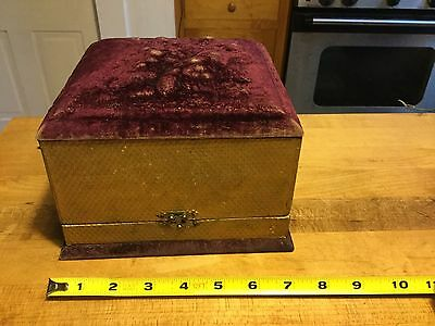 Rare Antique Victorian Plum  Velvet Collar Jewelry Makeup Travel Case Wood Box