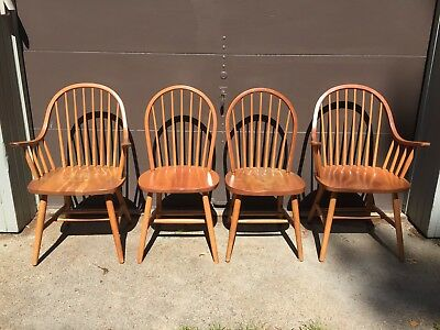 Set of 4 solid cherry Windsor/Shaker style dining room chairs