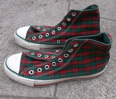 748ac2cdc7d71f Vintage Christmas Converse Mens 7 Womens 9 Red Green Plaid No Bells Laces