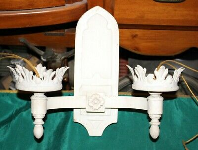Antique Gothic Medieval Church Wall Sconce Light Fixture-White Color Metal