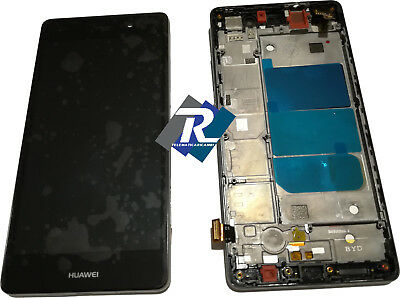 TOUCH SCREEN VETRO LCD DISPLAY Per Huawei Ascend P8 Lite ALE-L21 Nero + FRAME