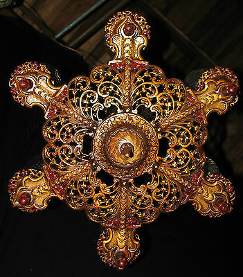 DECO ANTIQUE VICTORIAN CAST IRON CEILING LIGHT CHANDELIER FIXTURE 1930's