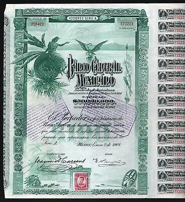 "1908 Mexico: Banco Central Mexicano ""Blueberry"" - uncancelled & coupons"