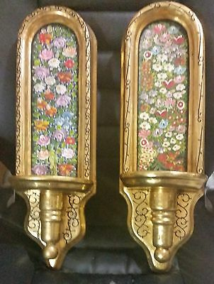 Pair Of Vintage Solid Wood, Hand Painted, Gold Sconces/shelves