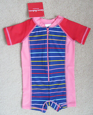 NWT Hanna Andersson Girls Pink/Navy Swimmy Rash Guard Swimsuit 70 (6-12 Months)