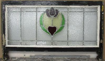 "MID SIZED OLD ENGLISH LEADED STAINED GLASS WINDOW Beautiful Floral 35"" x 17.25"""