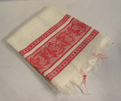 Antique Red White Linen Damask Jacquard Towel 19 1/2 x 33 Inches