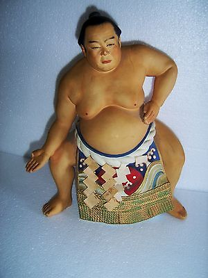 Japanese Hakata A. Sato RARE Clay Sumo Wrestler Hand Painted Doll