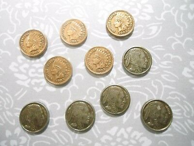5 Mini Size 10mm Indian Head Penny Stampings and 5 Buffalo Nickel Stampings