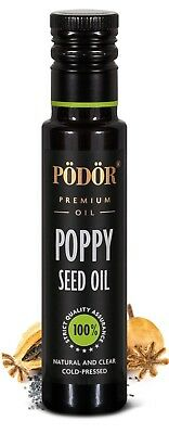 Podor Premium Cold-Pressed Poppy Seed Oil in dark bottle 100ml, Nature and Clear