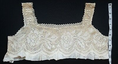 A21 Antique Salvage Yoke Bodice Crochet Filet Lace Floral Flower Reenact Costume